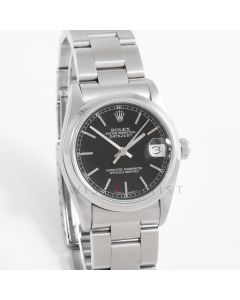 Rolex Datejust 31 mm 68240 Stainless Steel w/ Black Stick Dial & Smooth Bezel on an Oyster Bracelet - Women's Pre Owned Watch
