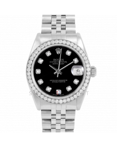 Rolex Datejust 31 6800 Midsize Stainless Steel, Custom Black Diamond Dial, 1ct Diamond Bezel On Oyster Bracelet, Ladies Pre-Owned Watch