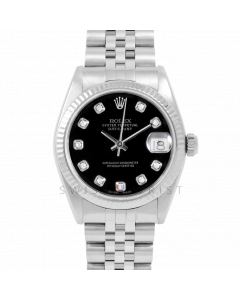 Rolex Datejust 31 6827 Midsize Stainless Steel, Custom Black Diamond Dial, Fluted Bezel on a Jubilee Bracelet - Ladies Pre-Owned Non-Quickset Watch