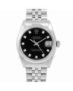 Rolex Datejust 31 6827 Midsize Stainless Steel, Factory Black Diamond Dial, Fluted Bezel on a Jubilee Bracelet - Ladies Pre-Owned Non-Quickset Watch