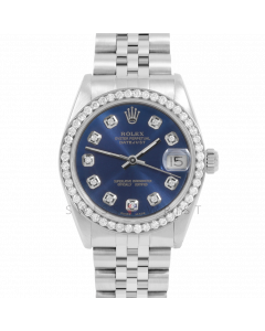 Rolex Datejust 31 6800 Midsize Stainless Steel, Custom Blue Diamond Dial, 1ct Diamond Bezel On Jubilee Bracelet, Ladies Pre-Owned Watch