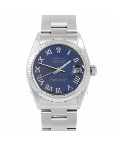Rolex Datejust 31 6827 Midsize Stainless Steel, Blue Roman Dial, Fluted Bezel on an Oyster Bracelet - Ladies Pre-Owned Non-Quickset Watch
