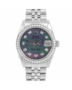 Rolex Datejust 31 6800 Midsize Stainless Steel, Custom Black MOP Diamond Dial, 1ct Diamond Bezel On Jubilee Bracelet, Ladies Pre-Owned Watch