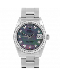 Rolex Datejust 31 6800 Midsize Stainless Steel, Custom Black MOP Diamond Dial, 1ct Diamond Bezel On Oyster Bracelet, Ladies Pre-Owned Watch