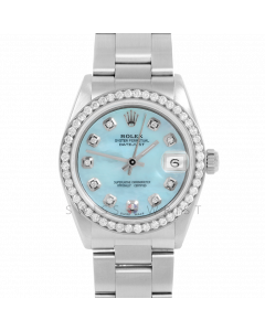 Rolex Datejust 31 6800 Midsize Stainless Steel, Custom Light Blue MOP Diamond Dial, 1ct Diamond Bezel On Oyster Bracelet, Ladies Pre-Owned Watch