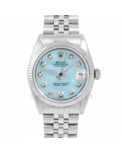 Rolex Datejust 31 6827 Midsize Stainless Steel, Custom Light Blue Mother of Pearl Diamond Dial, Fluted Bezel on a Jubilee Bracelet - Ladies Pre-Owned Non-Quickset Watch