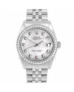 Rolex Datejust 31 6800 Midsize Stainless Steel, Custom MOP Diamond Dial, 1ct Diamond Bezel On Jubilee Bracelet, Ladies  Pre-Owned Watch