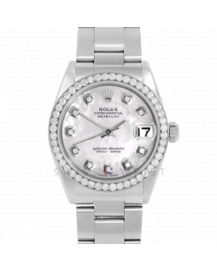Rolex Datejust 31 6800 Midsize Stainless Steel, Custom MOP Diamond Dial, 1ct Diamond Bezel On Oyster Bracelet, Ladies Pre-Owned Watch