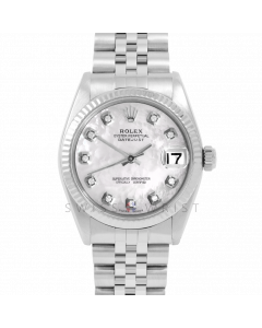 Rolex Datejust 31 6827 Midsize Stainless Steel, Custom Mother of Pearl Diamond Dial, Fluted Bezel on a Jubilee Bracelet - Ladies Pre-Owned Non-Quickset Watch
