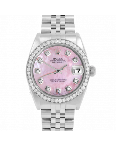 Rolex Datejust 31 6800 Midsize Stainless Steel, Custom Pink MOP Diamond Dial, 1ct Diamond Bezel On Jubilee Bracelet, Ladies Pre-Owned Watch