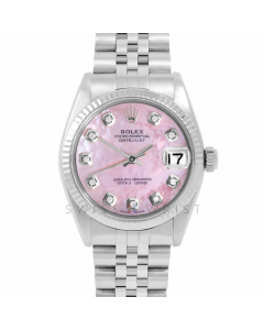Rolex Datejust 31 6827 Midsize Stainless Steel, Custom Pink Mother of Pearl Diamond Dial, Fluted Bezel on a Jubilee Bracelet - Ladies Pre-Owned Non-Quickset Watch