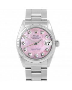 Rolex Datejust 31 6827 Midsize Stainless Steel, Custom Pink Mother of Pearl Diamond Dial, Fluted Bezel on an Oyster Bracelet - Ladies Pre-Owned Non-Quickset Watch