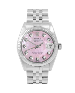 Rolex Midsize Datejust 6827 - Custom Pink Mother Of Pearl Diamond Dial - Stainless Steel - Fluted Bezel On A Jubilee Band - Pre-Owned