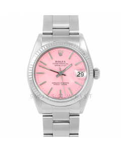 Rolex Datejust 31 6827 Midsize Stainless Steel, Pink Stick Dial, Fluted Bezel on an Oyster Bracelet - Ladies Pre-Owned Non-Quickset Watch