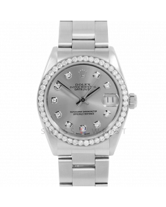 Rolex Datejust 31 6800 Midsize Stainless Steel, Custom Slate Diamond Dial, 1ct Diamond Bezel On Oyster Bracelet, Ladies Pre-Owned Watch