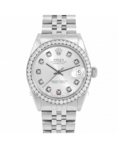 Rolex Datejust 31 6800 Midsize Stainless Steel, Custom Silver Diamond Dial, 2ct Diamond Bezel On Jubilee Bracelet, Ladies Pre-Owned Watch