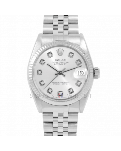 Rolex Datejust 31 6827 Midsize Stainless Steel, Custom Silver Diamond Dial, Fluted Bezel on a Jubilee Bracelet - Ladies Pre-Owned Non-Quickset Watch