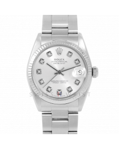 Rolex Datejust 31 6827 Midsize Stainless Steel, Custom Silver Diamond Dial, Fluted Bezel on an Oyster Bracelet - Ladies Pre-Owned Non-Quickset Watch