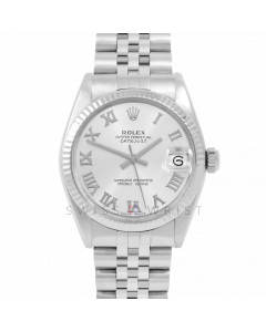Rolex Datejust 31 6827 Midsize Stainless Steel, Silver Roman Dial, Fluted Bezel on a Jubilee Bracelet - Ladies Pre-Owned Non-Quickset Watch