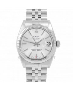 Rolex Datejust 31 6827 Midsize Stainless Steel, Silver Stick Dial, Fluted Bezel on a Jubilee Bracelet - Ladies Pre-Owned Non-Quickset Watch