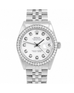 Rolex Datejust 31 6800 Stainless Steel, Custom White Diamond Dial, 1ct Diamond Bezel On Jubilee Bracelet, Ladies Pre-Owned Watch