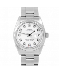 Rolex Datejust 31 6827 Midsize Stainless Steel, Custom White Diamond Dial, Fluted Bezel on an Oyster Bracelet - Ladies Pre-Owned Non-Quickset Watch