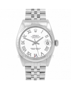 Rolex Datejust 31 6827 Midsize Stainless Steel, White Roman Dial, Fluted Bezel on a Jubilee Bracelet - Ladies Pre-Owned Non-Quickset Watch