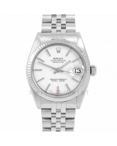 Rolex Datejust 31 6827 Midsize Stainless Steel, White Stick Dial, Fluted Bezel on a Jubilee Bracelet - Ladies Pre-Owned Non-Quickset Watch
