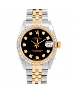 Rolex Datejust 31 6800 Midsize Yellow Gold & Steel, Custom Black Diamond Dial, 1ct Diamond Bezel On Jubilee Bracelet, Ladies Pre-Owned Watch