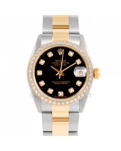 Rolex Datejust 31 6800 Midsize Yellow Gold & Stainless Steel, Custom Black Diamond Dial, 1ct Diamond Bezel On Oyster Bracelet, Ladies Pre-Owned Watch