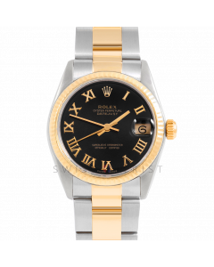 Rolex Datejust 31 6827 Midsize Yellow Gold & Steel, Black Roman Dial, Fluted Bezel On Oyster Bracelet, Ladies Pre-Owned Watch