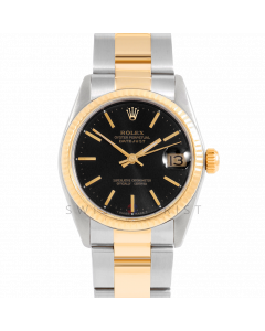 Rolex Datejust 31 6827 Midsize Yellow Gold & Steel, Black Stick Dial, Fluted Bezel On Oyster Bracelet, Ladies Pre-Owned Watch