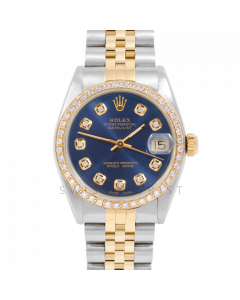 Rolex Datejust 31 6800 Midsize Yellow Gold & Steel, Custom Blue Diamond Dial, 1ct Diamond Bezel On Jubilee Bracelet, Ladies Pre-Owned Watch