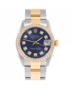 Rolex Datejust 31 6800 Midsize Yellow Gold & Stainless Steel, Custom Blue Diamond Dial, 1ct Diamond Bezel On Oyster Bracelet, Ladies Pre-Owned Watch