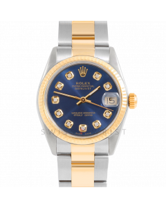 Rolex Datejust 31 6827 Midsize Yellow Gold & Steel, Custom Blue Diamond Dial, Fluted Bezel On Oyster Bracelet, Ladies Pre-Owned Watch