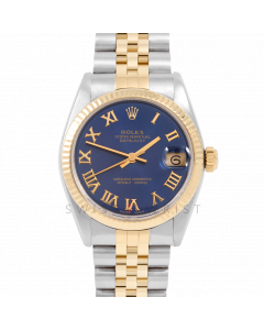 Rolex Datejust 31 6827 Midsize Yellow Gold & Steel, Blue Roman Dial, Fluted Bezel on a Jubilee Bracelet - Ladies Pre-Owned Non-Quickset Watch
