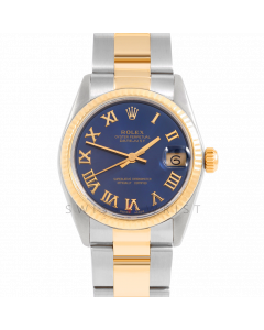 Rolex Datejust 31 6827 Midsize Yellow Gold & Steel, Blue Roman Dial, Fluted Bezel On Oyster Bracelet, Men's Pre-Owned Watch