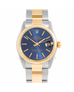 Rolex Datejust 31 6827 Midsize Yellow Gold & Steel, Blue Stick Dial, Fluted Bezel On Oyster Bracelet, Ladies Pre-Owned Watch