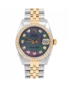 Rolex Datejust 31 6800 Midsize Yellow Gold & Steel, Custom Black Mother of Pearl Diamond Dial, Diamond Bezel on a Jubilee Bracelet - Ladies Pre-Owned Non-Quickset Watch