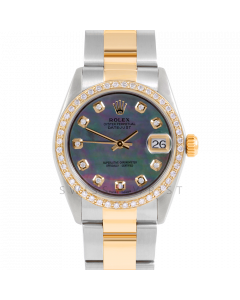 Rolex Datejust 31 6800 Midsize Yellow Gold & Stainless Steel, Custom Black MOP Diamond Dial, 1ct Diamond Bezel On Oyster Bracelet, Ladies Pre-Owned Watch