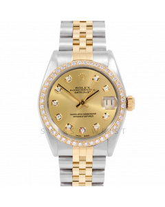 Rolex Datejust 31 6800 Midsize Yellow Gold & Steel, Custom Champagne Diamond Dial, 1ct Diamond Bezel On Jubilee Bracelet, Ladies Pre-Owned Watch