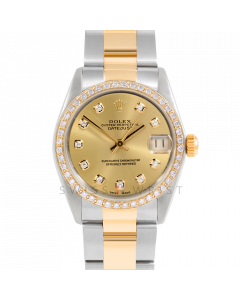 Rolex Datejust 31 6800 Midsize Yellow Gold & Steel, Custom Champagne Diamond Dial, 1ct Diamond Bezel On Oyster Bracelet, Ladies Pre-Owned Watch