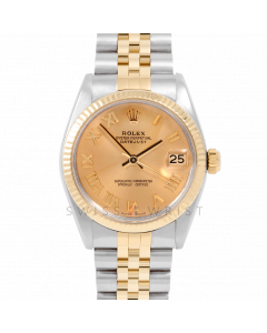 Rolex Datejust 31 6827 Midsize Yellow Gold & Steel, Champagne Roman Dial, Fluted Bezel on a Jubilee Bracelet - Ladies Pre-Owned Non-Quickset Watch