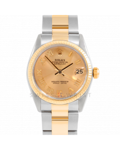 Rolex Datejust 31 6827 Midsize Yellow Gold & Steel, Champagne Roman Dial, Fluted Bezel On Oyster Bracelet, Ladies Pre-Owned Watch