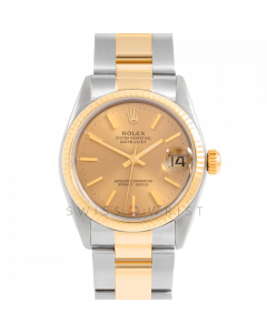 Rolex Datejust 31 6827 Midsize Yellow Gold & Steel, Champagne Stick Dial, Fluted Bezel On Oyster Bracelet, Ladies Pre-Owned Watch