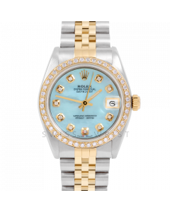 Rolex Datejust 31 6800 Midsize Yellow Gold & Steel, Custom Light Blue MOP Diamond Dial, 1ct Diamond Bezel On Jubilee Bracelet, Ladies Pre-Owned Watch