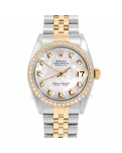 Rolex Datejust 31 6800 Midsize Yellow Gold & Steel, Custom MOP Diamond Dial, 1ct Diamond Bezel On Jubilee Bracelet, Ladies Pre-Owned Watch