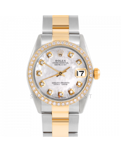 Rolex Datejust 31 6800 Midsize Yellow Gold & Steel, Custom MOP Diamond Dial, 1ct Diamond Bezel On Oyster Bracelet, Ladies Pre-Owned Watch