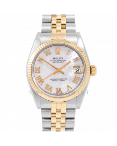 Rolex Datejust 31 6827 Midsize Yellow Gold & Steel, Mother of Pearl Roman Dial, Fluted Bezel On Jubilee Bracelet, Ladies Pre-Owned Watch