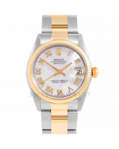 Rolex Datejust 31 6827 Midsize Yellow Gold & Steel, Custom MOP Roman Dial, Fluted Bezel On Oyster Bracelet, Ladies Pre-Owned Watch